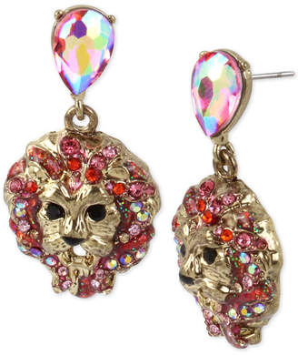 Betsey Johnson Gold-Tone Crystal Lion Head Drop Earrings