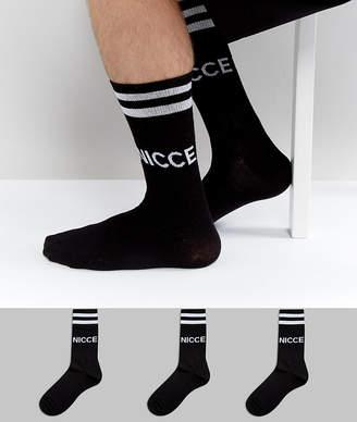 Nicce London sports socks 3 pack in black