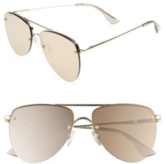 Women's Le Specs The Prince 59Mm Mirrored Rimless Aviator Sunglasses - Light Gold $89 thestylecure.com