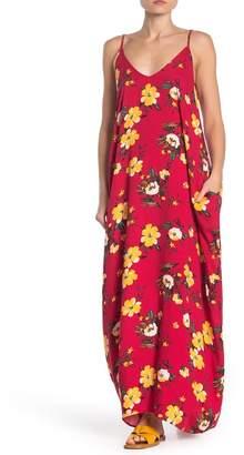 Love Stitch Double V Tropical Floral Print Gauze Maxi Dress