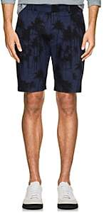 Aztech Mountain AZTECH MOUNTAIN MEN'S PALM-PRINT STRETCH COTTON TWILL SHORTS-NAVY SIZE 38