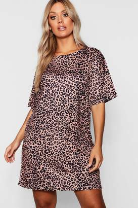 boohoo Plus Animal Printed oversized T-Shirt Dress