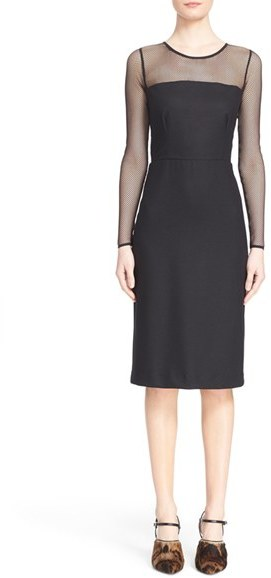 Max Mara Women's Max Mara 'Omelia' Fishnet Wool Blend Jersey Dress