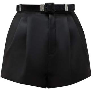 Saint Laurent Tailored High Rise Wool Twill Shorts - Womens - Black