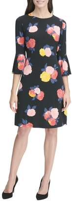 Tommy Hilfiger Floral-Print Bell-Sleeve Jersey A-line Dress
