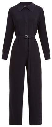 Norma Kamali Belted Jersey Jumpsuit - Womens - Navy