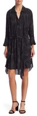 Halston Smocked Long-Sleeve Shirtdress