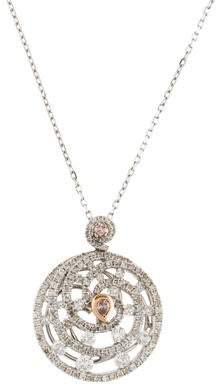 18K Diamond Swirl Pendant Necklace
