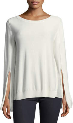 Halston Split-Cuff Sweater with Georgette Insets