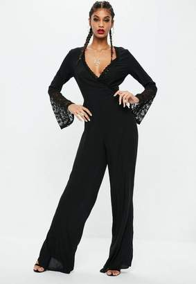 Missguided Tall Black Wrap Front Romper
