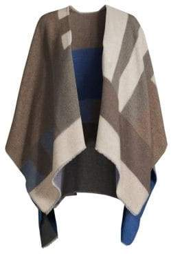 Eileen Fisher Colorblock Wool-Blend Poncho
