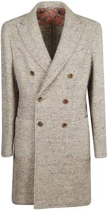 Etro Herringbone Double Breasted Coat