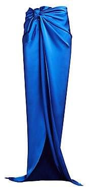 Balenciaga Women's Knotted Stretch Satin Long Skirt