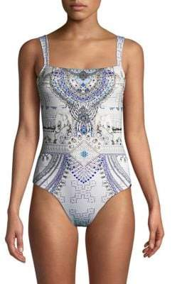 Camilla Printed Straight Neck Swimsuit