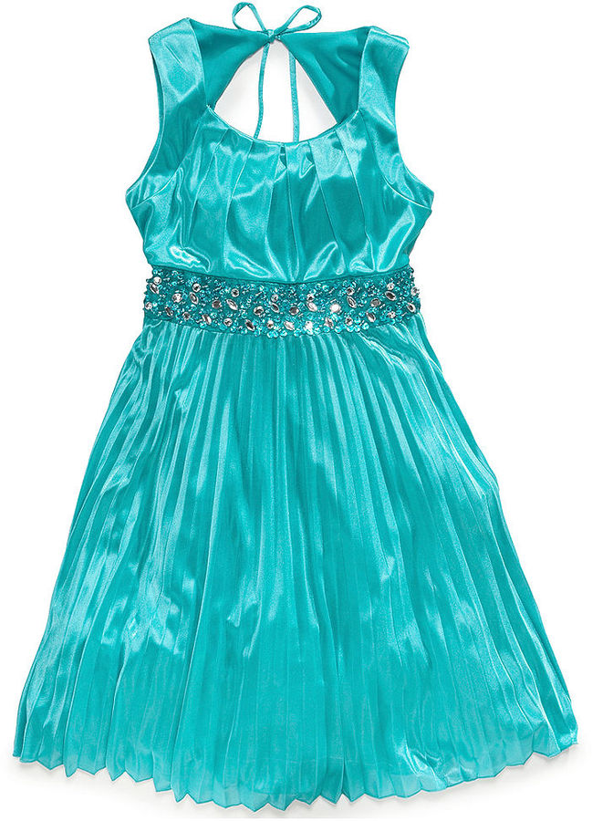 Sequin Hearts My Michelle Girls' Pleated Beaded Dress