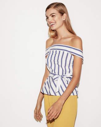 Express Petite Stripe Off The Shoulder Tie Waist Peplum Top