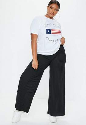 Missguided Plus Size Black Wide Leg Rib Pants