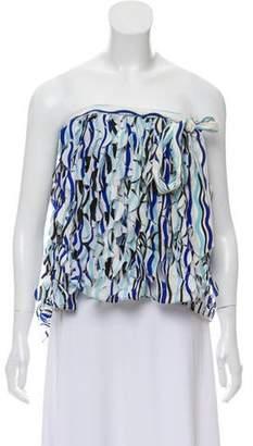 Diane von Furstenberg Ruffled Silk Strapless Top