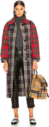 Burberry Tartan Trench Coat in Red, Black & White | FWRD