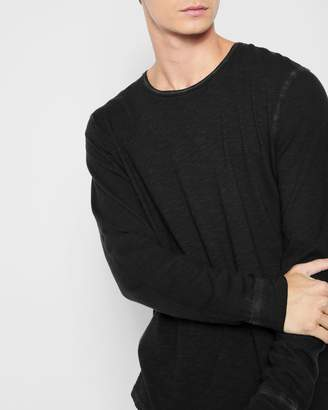 7 For All Mankind Long Sleeve Raw Crewneck Tee in Black