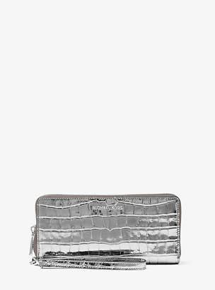 Michael Kors Jet Set Travel Metallic Crocodile-Embossed-Leather Continental Wristlet