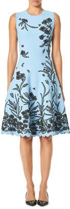Carolina Herrera Sleeveless A-Line Floral-Jacquard Knee-Length Dress