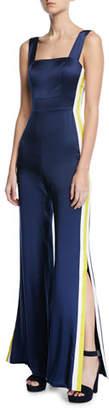 Alexis Luisana Side-Stripe Silk Jumpsuit