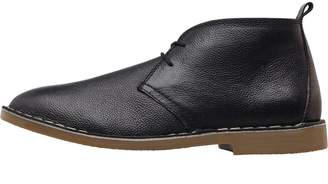 Onfire Mens Leather Desert Boots Black