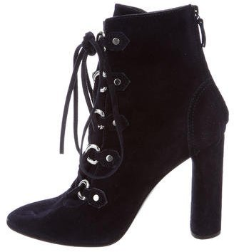 Casadei Suede Lace-Up Booties $175 thestylecure.com