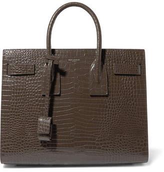 Saint Laurent Sac De Jour Small Croc-effect Leather Tote - Taupe