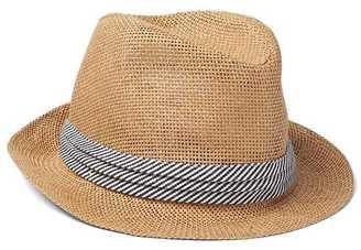 Stripe-band straw fedora $19.95 thestylecure.com