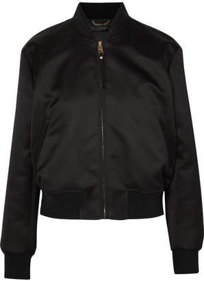 Versace - Embellished Satin Bomber Jacket - Black