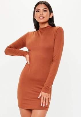 Missguided Rust Curve Hem High Neck Mini Dress
