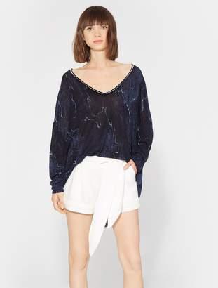 Halston Printed V Neck Sweater