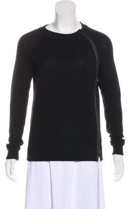 Vince Leather-Trimmed Wool Sweater