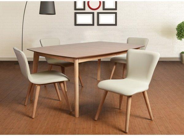 Midtown Concept Dalia Mid-Century 5 Piece Living Room Dining Set, Cream