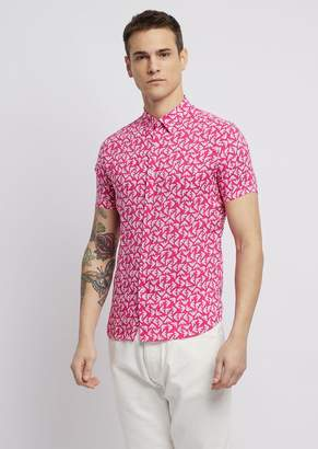 Emporio Armani Short-Sleeved Shirt With All-Over Printed Logo
