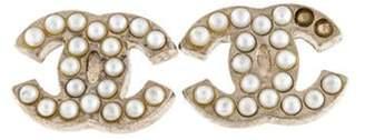 Chanel Faux Pearl CC Logo Stud Earrings Silver Chanel Faux Pearl CC Logo Stud Earrings