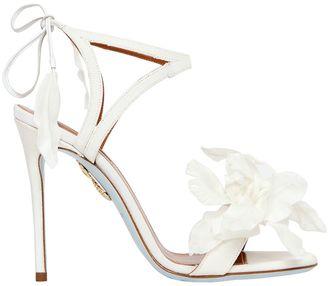 Aquazzura 105mm Floral Satin Bridal Sandals