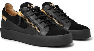 Giuseppe Zanotti Logoball Leather And Suede Sneakers - Black
