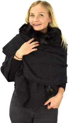 Couture Peach Faux Fur Poncho Cape Shawl Scarf Cardigan Sweater