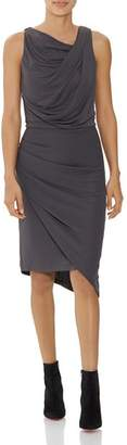 Halston Sleeveless Draped Knit Dress