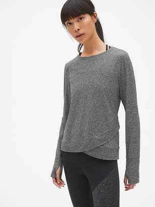 Gap GapFit Long Sleeve Tulip-Front Top in Brushed Tech Jersey