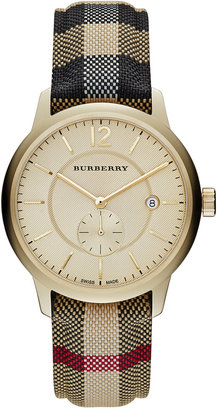 Burberry Unisex Swiss Honey Check Fabric Strap Watch 40mm BU10001 $795 thestylecure.com
