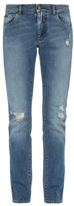 Dolce & Gabbana Distressed Slim Fit Straight Leg Jeans - Mens - Blue