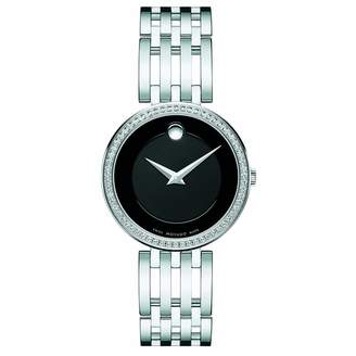 Movado Women's Steel Bracelet & Case Sapphire Crystal Quartz Black Dial Analog Watch 0607052