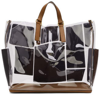 Fendi Transparent and Brown Leather and Fur Forever Patch Pocket Tote