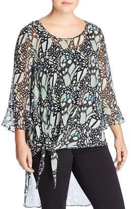 Estelle Plus Sheer Butterfly-Print Top