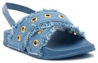 Nicole Miller Eyelet Denim Slide Sandal (Toddler)