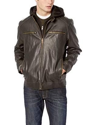 GUESS Men's Faux Leather Moto Hood